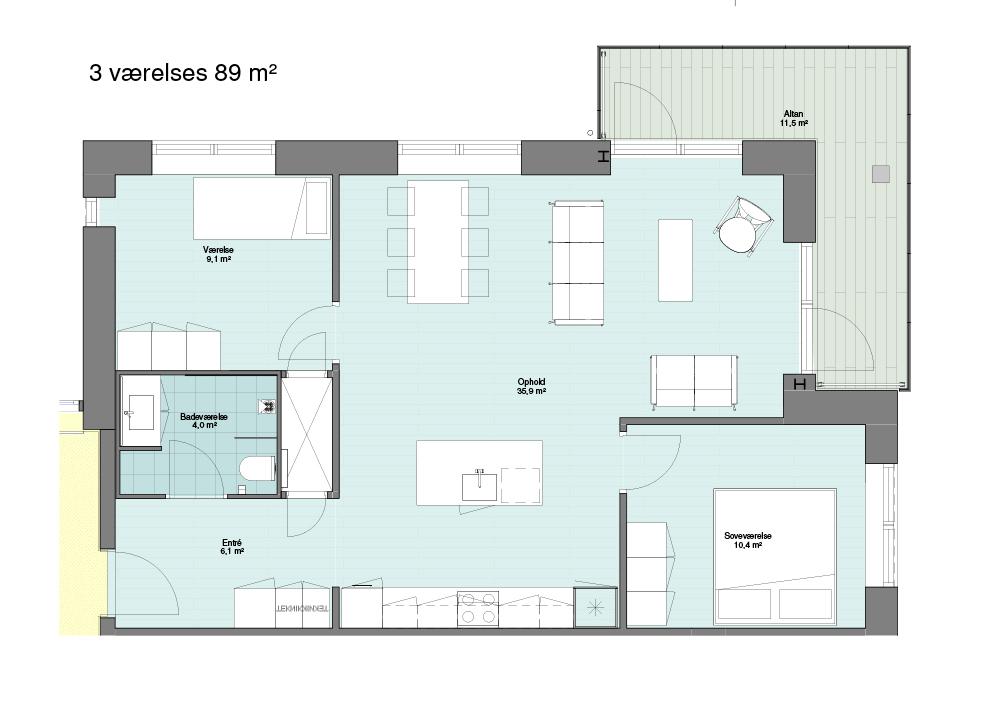 3 værelses på 89 m2