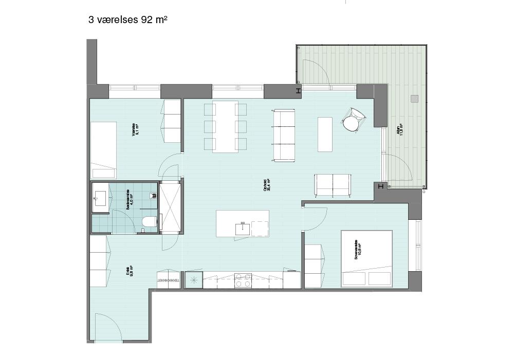 3 værelses lejlighed