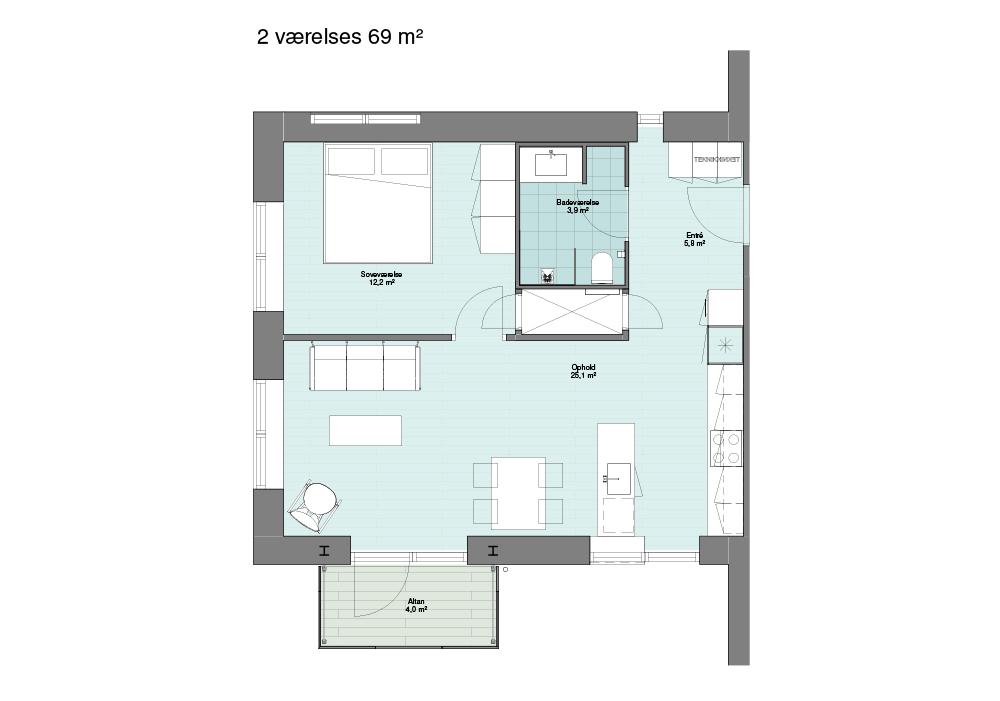 2-værelses på 69